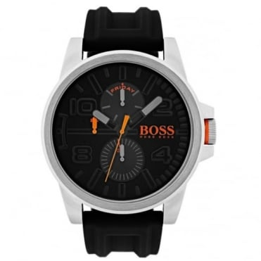 Men's S/Steel Black Rubber Detroit Watch 1550006