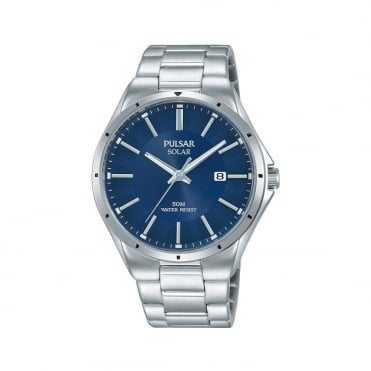Men's S/Steel Blue Dial Solar Watch PX3139