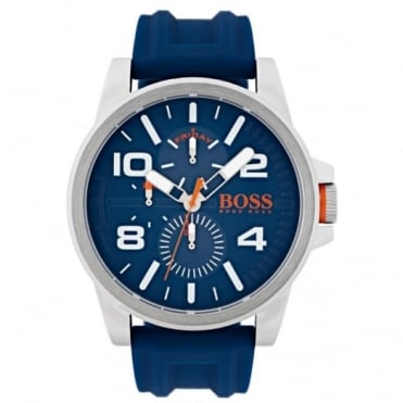 Men's S/Steel Blue Rubber Detroit Watch 1550008