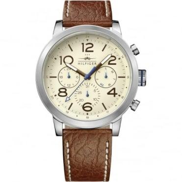 Tommy Hilfiger Men's S/Steel Brown Leather Jake Watch 1791230