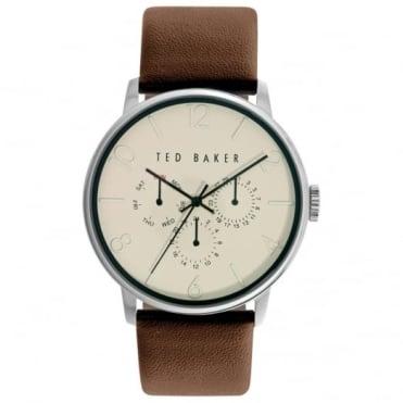 Ted Baker Men's S/Steel Brown Leather Multi Dial Watch TE10023493