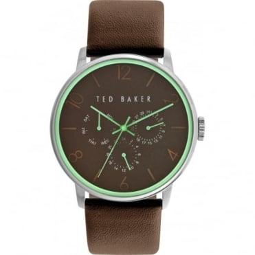 Ted Baker Men's S/Steel Brown Leather Multi Dial Watch TE10023496