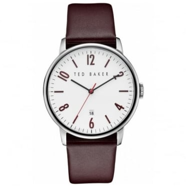 Men's S/Steel Burgundy Leather Strap Watch TE10030755