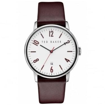 Ted Baker Men's S/Steel Burgundy Leather Strap Watch TE10030755