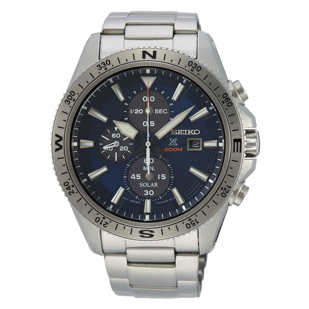 e74e7e6c4 Seiko Men's Stainless Steel Prospex Solar Chronograph Divers Watch SSC703P1