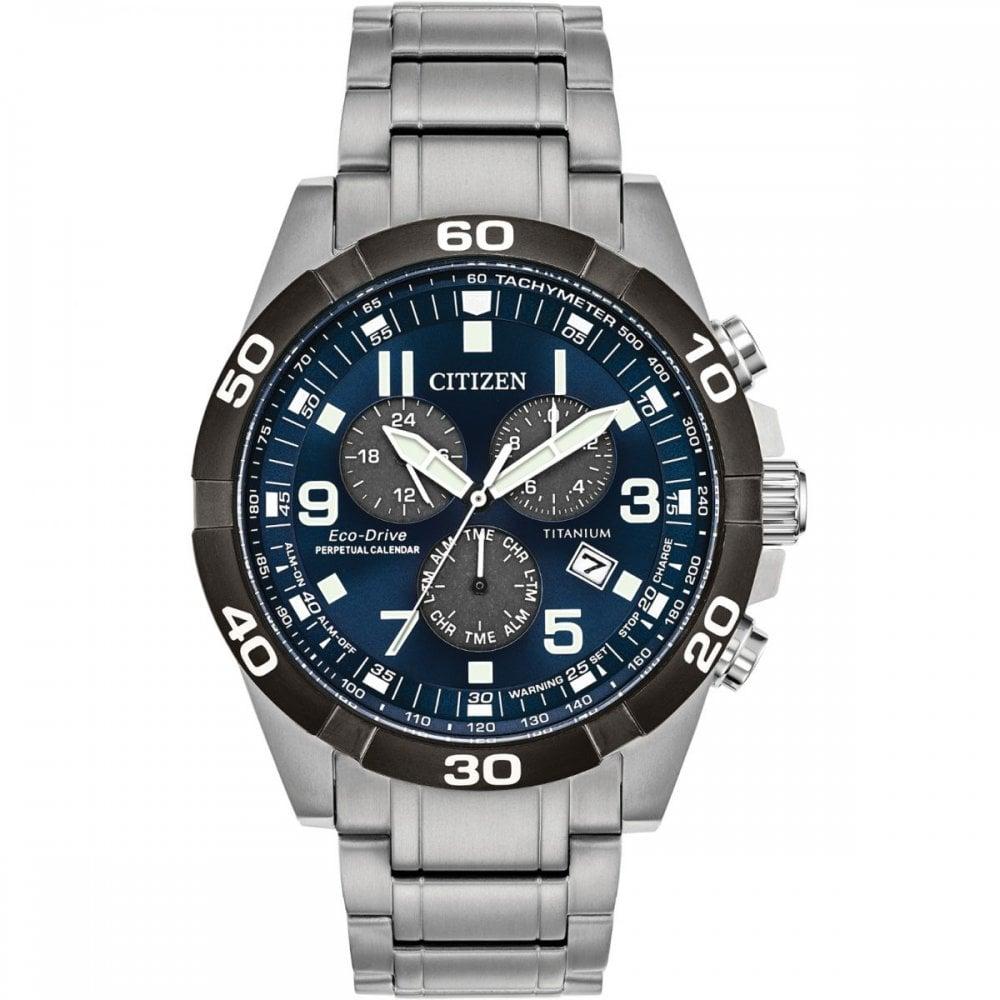 Perpetual Calendar Watch >> Men S Titanium Perpetual Calendar Eco Drive Watch Bl5558 58l