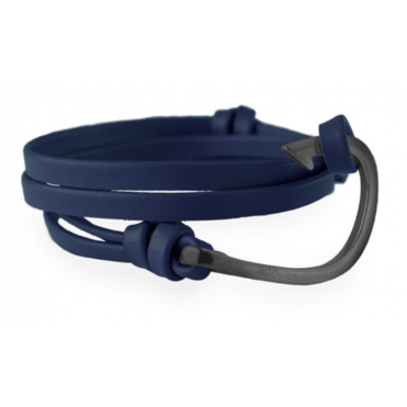 Navy Blue Leather & Black Bracelet HBL10
