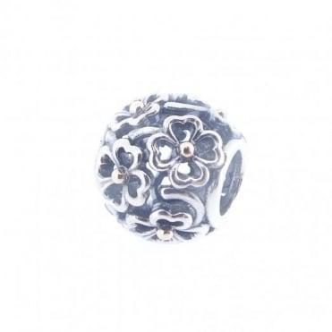 Pandora Silver & 14ct Gold Floral Openwork Charm 791373