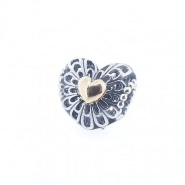 Pandora Silver & 14ct Gold Ltd Edition Openwork Filigree Heart Charm 791275