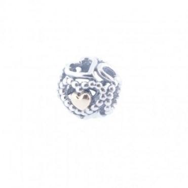 Pandora Silver & 14ct Gold Openwork Love Hearts Charm 791372