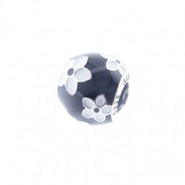 Pandora Silver Black & White Flower Charm 791398ENMX