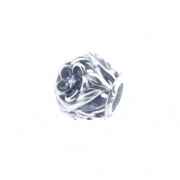 Pandora Silver Openwork Enamel Flower Clear Cubic Flower Charm 791409CZ