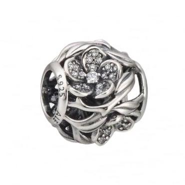 Pandora Silver Openwork Flower Clear Pave Charm 791419CZ