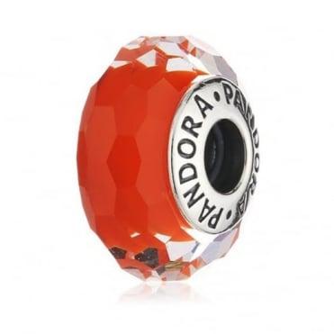 Pandora Silver Orange Faceted Glass Charm 791626