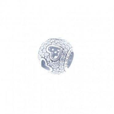 Pandora Silver Pave Cut Out Hearts Charm 791426CZ