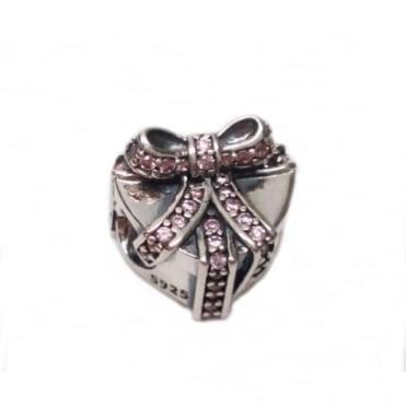 Pandora Silver Pink Cubic Present Heart Charm 791423PCZ