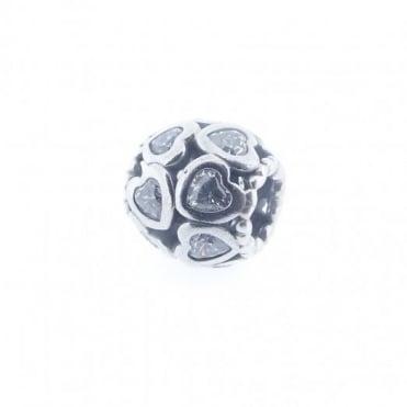 Pandora Silver Sparkling CZ Open Heart Charm 791250CZ