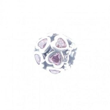 Pandora Silver Sparkling Pink Open Hearts Charm 791250CZS