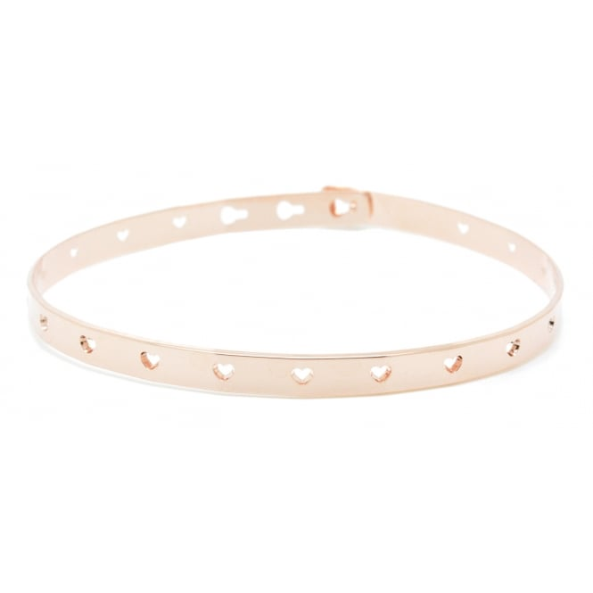 Perforated Hearts, Pink Gold Bangle JC-52.P