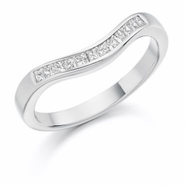 The Raphael Collection Princess Cut .25ct Curved Half Eternity Ring HET1138