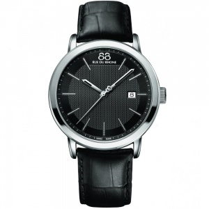 88 Rue Du Rhone Gents' Stainless Steel Black Leather Strap Watch 87WA130010