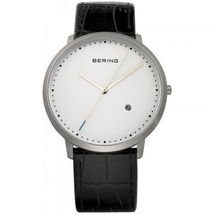 Bering Mens Classic Black Leather Watch 11139-404
