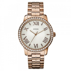Guess Ladies Rose Gold Stone Set Allure Watch W0329L3