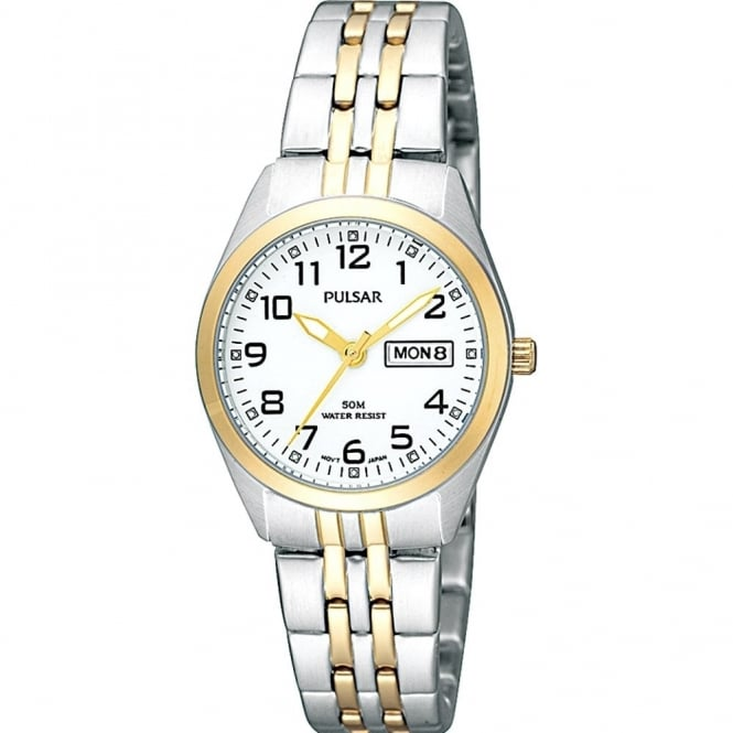 Pulsar Ladies' Two Tone Steel & Gold Plated Watch PN8006X1