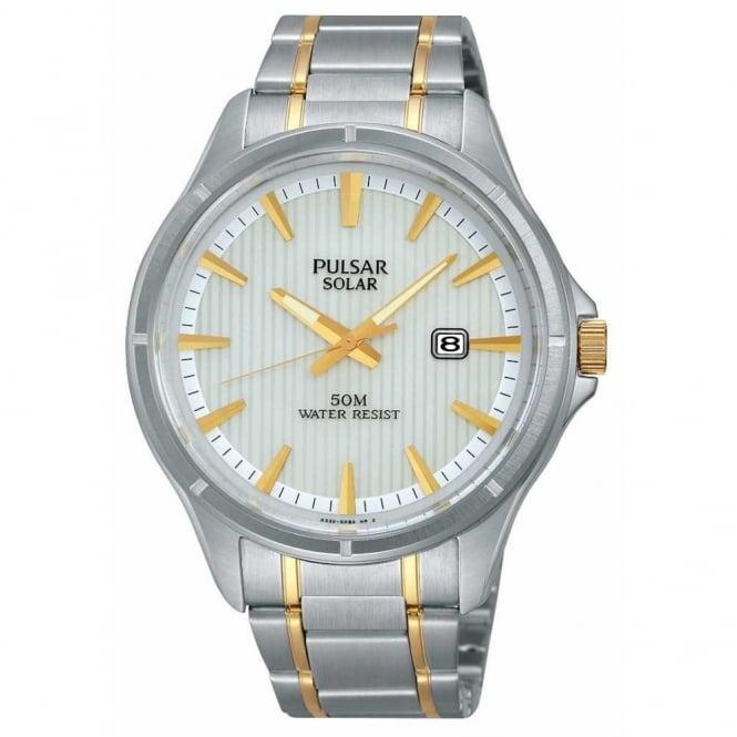 Pulsar Men's Two Tone Solar Powered Watch PX3047X1