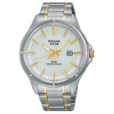 Pulsar Men's Two Tone Solar Powered Watch PX3047X1