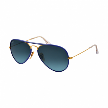Ray-Ban Aviator Full Colour Blue & Gold Sunglasses RB3025JM 001/4M 58