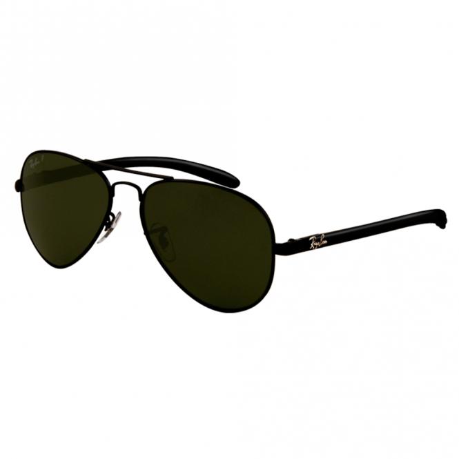 9635a0e2338f7 Black Aviator Carbon Fibre Sunglasses RB8307 002 N5 58 - Sunglasses ...