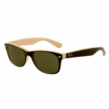 Ray-Ban Black & Beige New Wayfarer Sunglasses RB2132 875 52