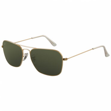Ray-Ban Gold Caravan Sunglasses RB3136 001 58