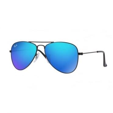 Ray-Ban Junior Blue Mirror Aviator Sunglasses RJ9506S 201/55 50