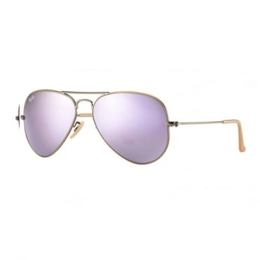 Lilac Mirror Aviator Sunglasses RB3025 167/4K 55