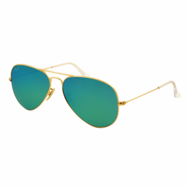 Matte Gold Aviator Mirrored Green Sunglasses RB3025 112/19 58