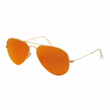 Matte Gold Aviator Orange Mirrored Sunglasses RB3025 112/69 58