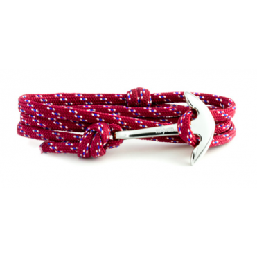 Red, Blue, White Paracord & Silver Bracelet ASR89