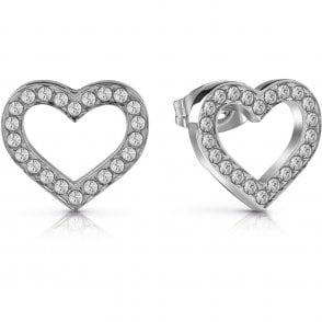 d1e29147c Rose Gold Plate Crystal Heart Stud Earrings UBE28005 - Jewellery ...