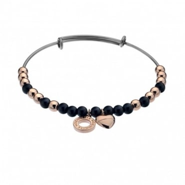 Rose Gold Plate Black Glass Bangle DC104