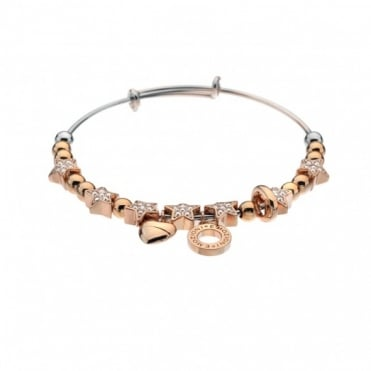 Rose Gold Plate Champagne Crystal Bangle DC146