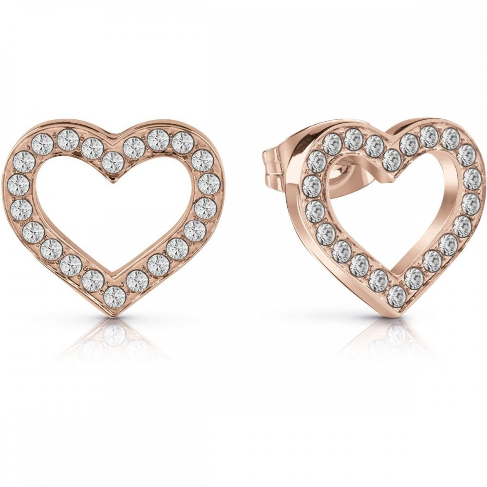 151c02a19 Guess Jewellery Rose Gold Plate Crystal Heart Stud Earrings UBE28005