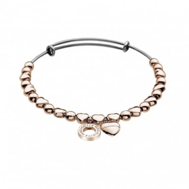 Emozioni Rose Gold Plate Heart Bangle Large DC121