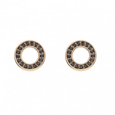 Rose Gold Plate Nero Saturno Black CZ Stud Earrings DE406