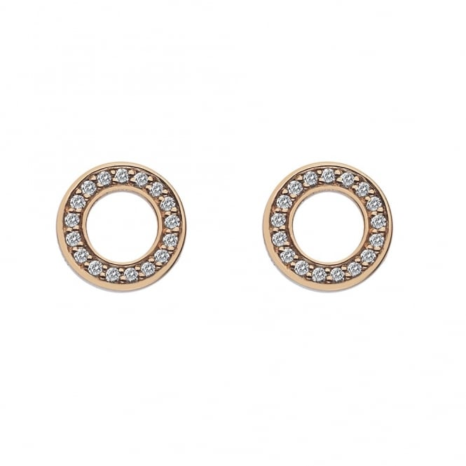 Rose Gold Plate Saturno CZ Earrings DE409