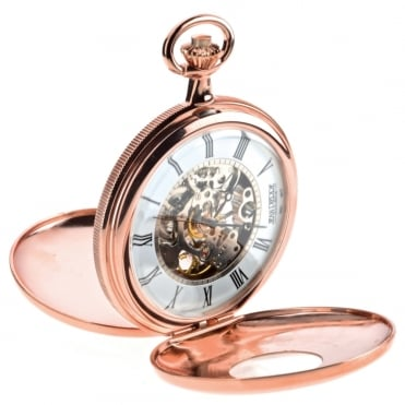 Rose Plate Double Half Hunter Mechanical Pocket Watch G255RPM
