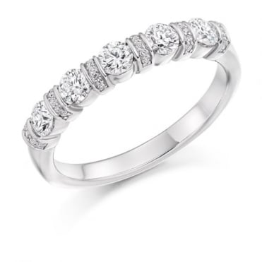 Round Brilliant Cut .60ct Half Eternity Ring HET2636