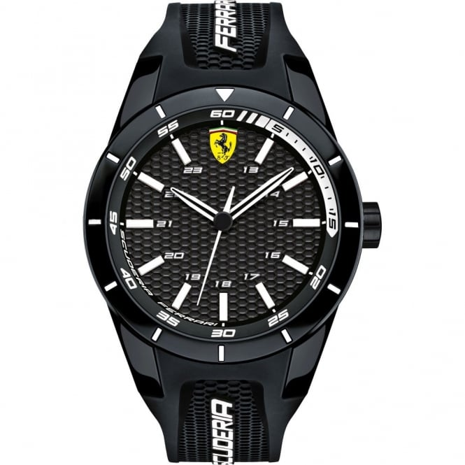 Men's Black Ion Plated Rubber Strap Watch 0830249