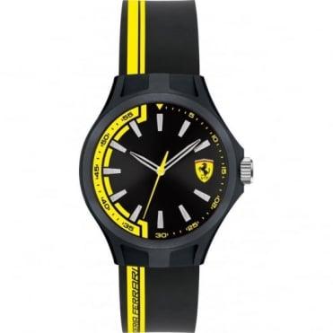 Scuderia Ferrari Mens's Black & Yellow Rubber Pit Crew Watch 0840012
